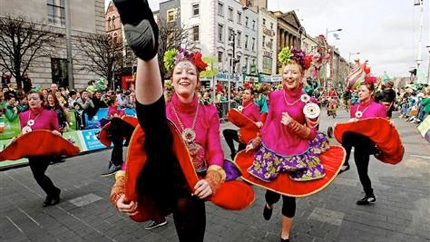 March 2010: Dancers at St Patrick's Day parade in Dublin, Ireland.