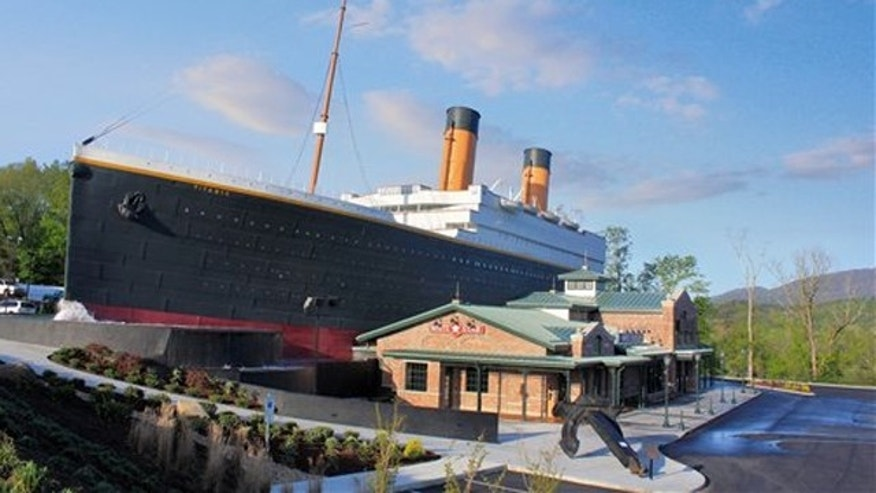 The exterior of a half-scale replica of the Titanic cruise ship in Pigeon Forge, Tenn. Titanic Museum Attractions  in Pigeon Forge and another in Branson, Mo., are marking the April 15, 2012 centennial of the Titanic sinking by sponsoring a Coast Guard cutter to take 1.5 million rose petals to the North Atlantic site where the ship went down.