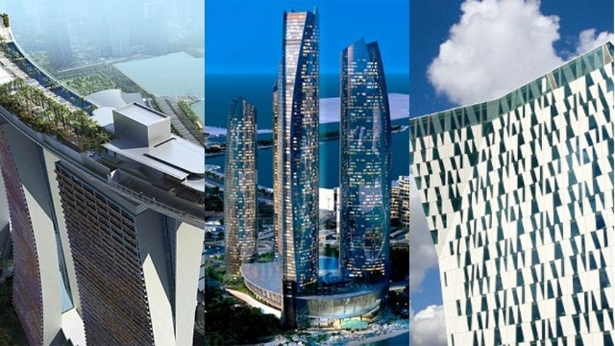 Singapore's Marina Bay Sands, Yas Viceroy Hotel in Abu Dhabi and the Bella Sky Comwell in Copenhagen.