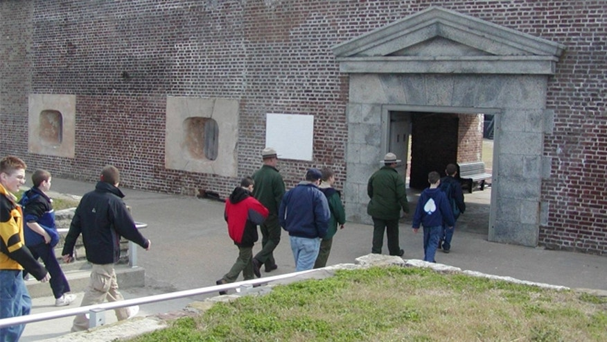 Visitors and rangers entering Fort Sumter