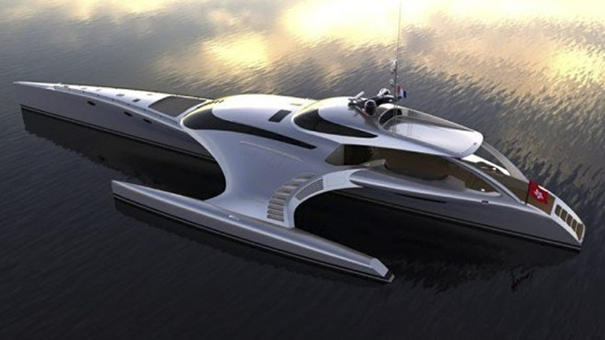 "The massive vessel's unique triple hull design — also known as a ""trimaran"" — was created with speed, fuel efficiency, and weight in mind."