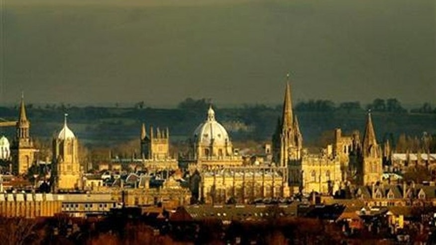 A view of the many church steeples in Oxford, England.