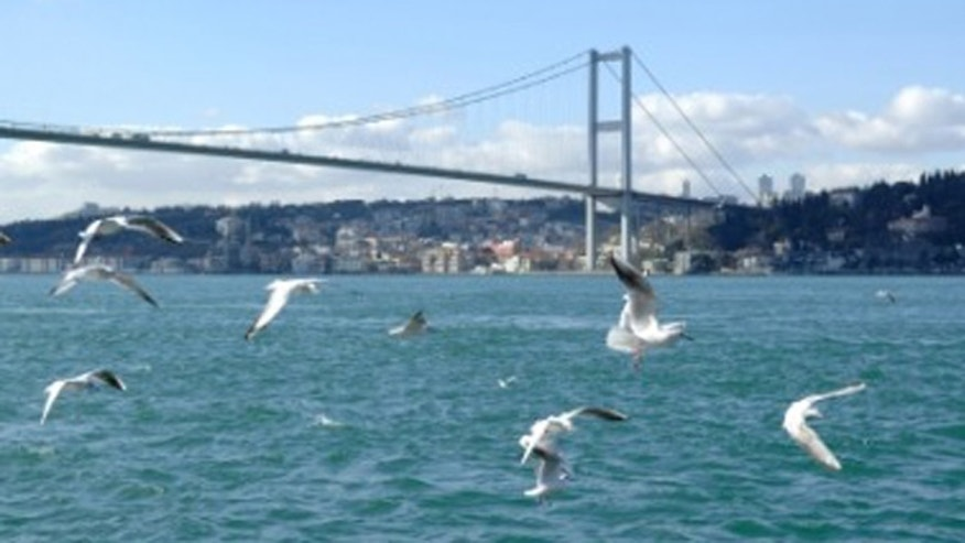 The iconic Bosphorus strait bisects the city of Istanbul, creating the boundary between Europe and Asia.
