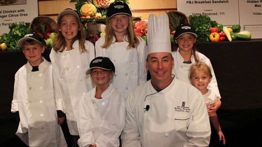 The Inverness Hotel'­s executive chef, Rodney Herwerth with kid judges.