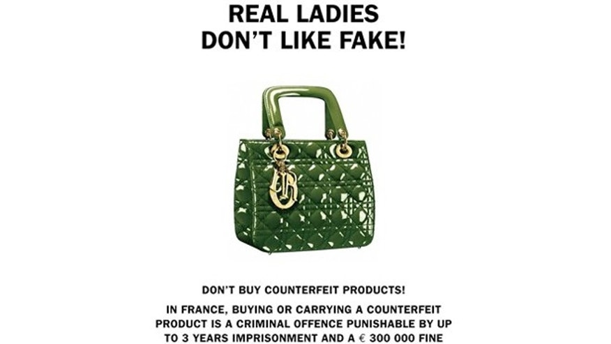 A poster by French Customs to fight against the sale of counterfeit goods in the world.