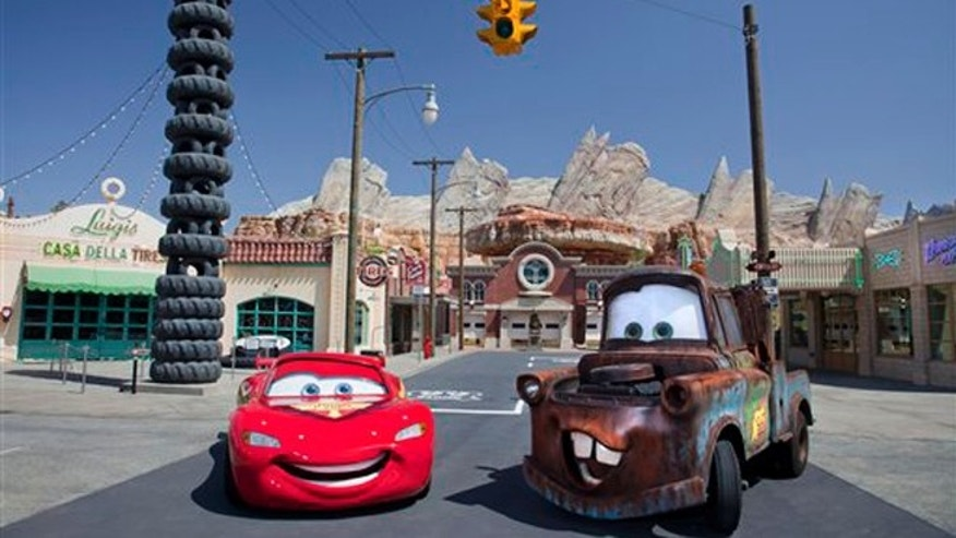 Characters Lightning McQueen and Mater at the new 12-acre Cars Land, a replica of Radiator Springs.