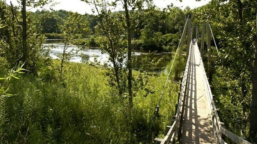 A suspension bridge over the Manistee River southeast of Mesick, Mich., where the North Country Scenic Trail follows the river for miles.