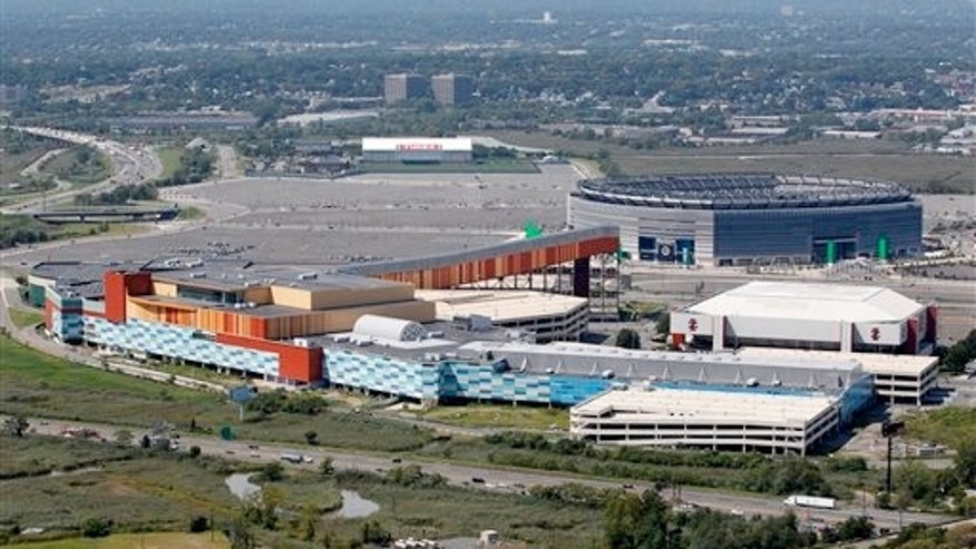 Sept. 1, 2011: MetLife Stadium, rear right, and the Izod Center, middle right, are seen behind American Dream, formerly called Xanadu, the unfinished oddly patterned shopping and entertainment complex in East Rutherford, N.J.