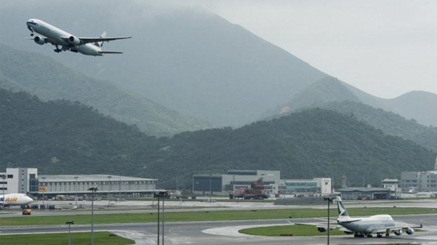 A plane takes off from Hong Kong's international airport.