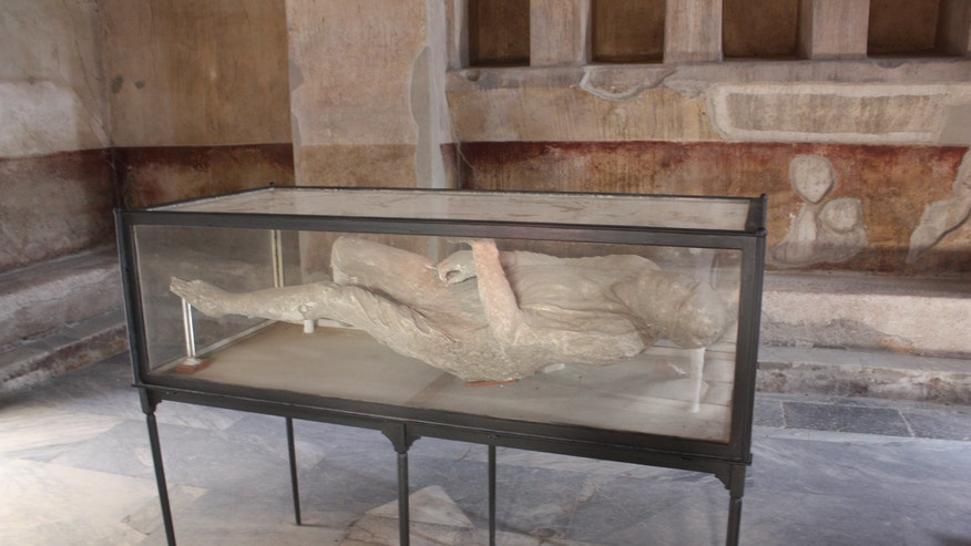 The body cast of one of Pompeii's residents who was buried alive by Mount Vesuvius. (Jacquelyn Debellis)