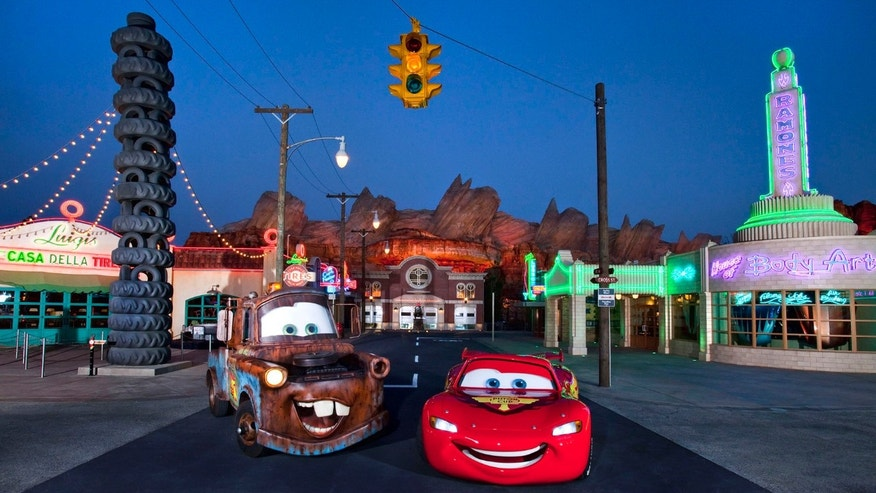Meet Lightening McQueen and Mater at Cars Land, Disney Adventure Park.