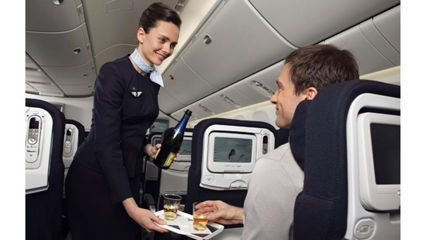 Complementary champagne aboard Air France