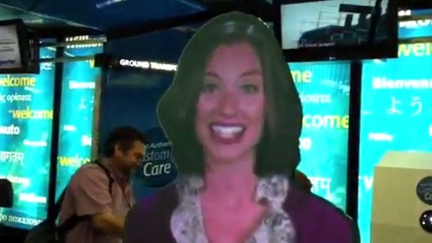 'Eva' is a hologram-like avatar that will help customers navigate LaGuardia, Newark and JFK terminal buildings.