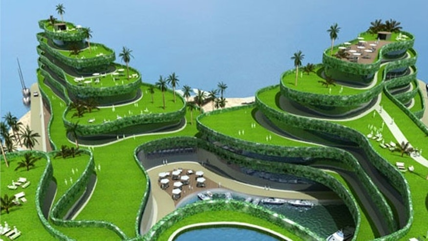 The floating 18-hole golf course comes complete with a clubhouse and an underwater tunnel.