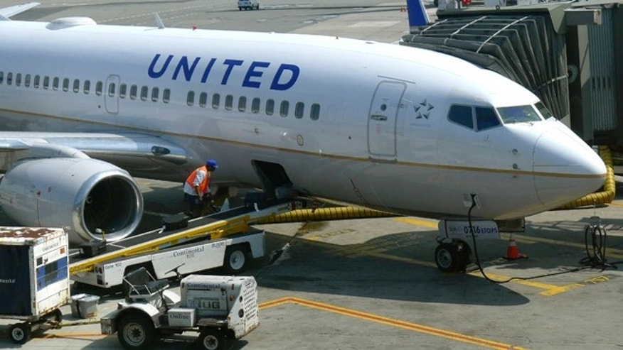 A United Airlines airplane is unloaded after arriving at Newark Liberty International Airport in Newark, New Jeresy, June 18, 2011. A United Airlines computer problem caused system wide cancellations Friday evening forcing passengers to be stranded across the U.S. on Saturday. REUTERS/Gary Hershorn (UNITED STATES - Tags: TRANSPORT BUSINESS SCI TECH)
