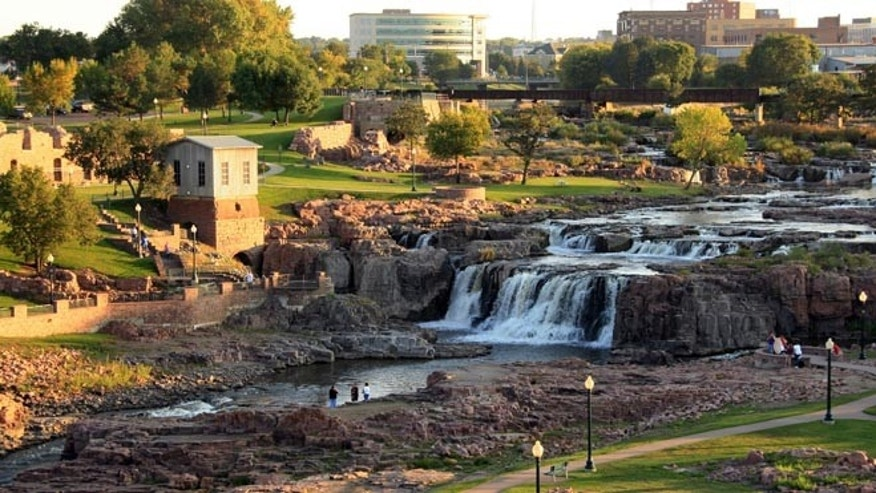 The Falls of the Big Sioux River drop as much as 7,400 gallons of water 100 feet over the falls each second.
