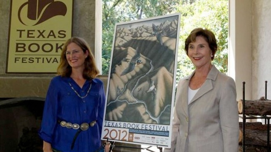Former first lady Laura Bush speaks at a announcement of the lineup for the 2012 Texas Book festival.