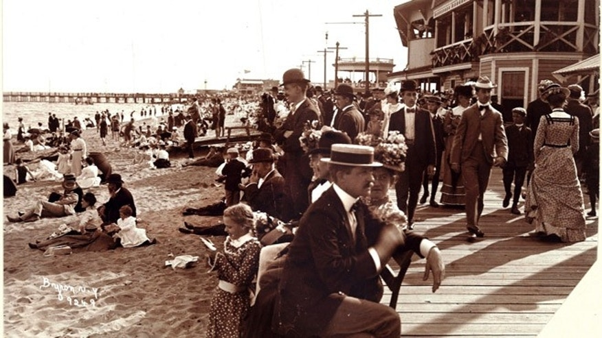 This 1899 vintage photo provided by the Museum of the City of New York shows bathers at Midland Beach in the Staten Island borough of New York.
