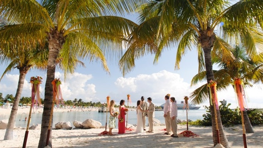 Disney clients tying the knot on a private island called Castaway Cay in the Bahamas.