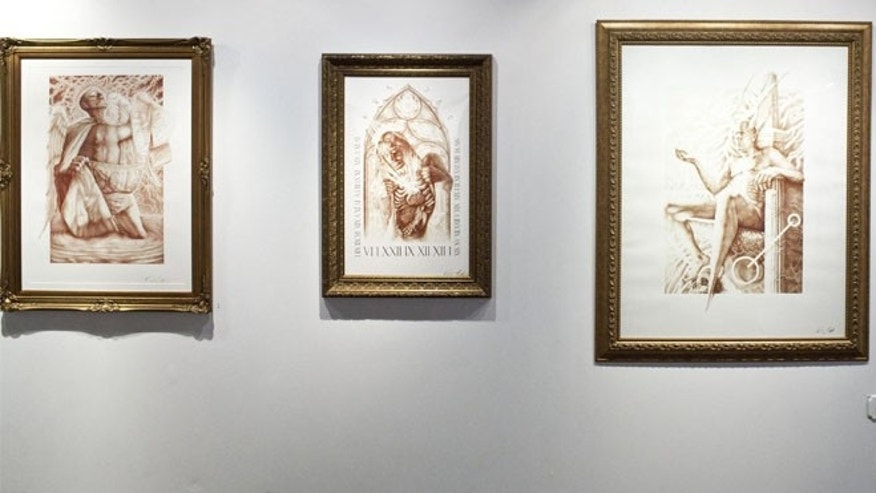 "Several paintings by artist Vincent Castiglia hang in the gallery of show ""Resurrection."""