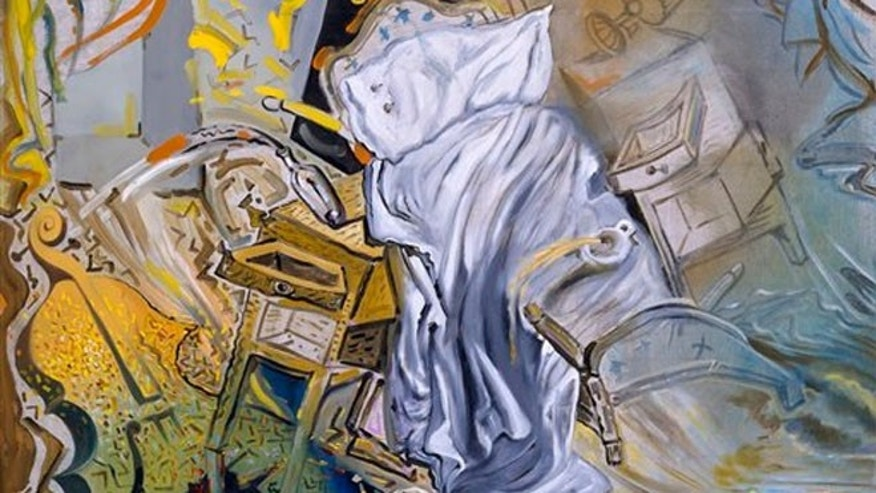 "Salvador Dali painting ""Bed and Two Bedside Tables Ferociously Attacking a Cello"", it is one of 12 works loaned for a temporary exhibit to the Salvador Dali Museum in St. Petersburg, Fla."