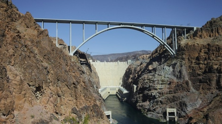 Oct. 2, 2012: The Hoover Dam and Mike O'Callaghan-Pat Tillman Memorial Bridge from the heliport in Boulder City, Nev.
