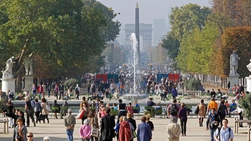 Oct. 23, 2012: The Tuileries gardens with the Arc de Triomphe in background.