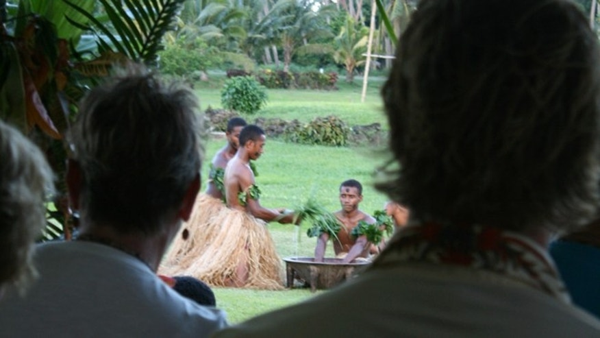Kava-making ceremony in Naselesele