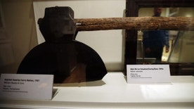 In this Nov. 8, 2012 photo, a hatchet used by temperance movement figure Carry Nation is shown at an exhibit on Prohibition at the National Constitution Center, in Philadelphia. The exhibit runs through April 2013. It will then travel to museums in Seattle; St. Paul, Minn.; St. Louis; Austin, Texas; and Grand Rapids, Mich. (AP Photo/Matt Slocum)