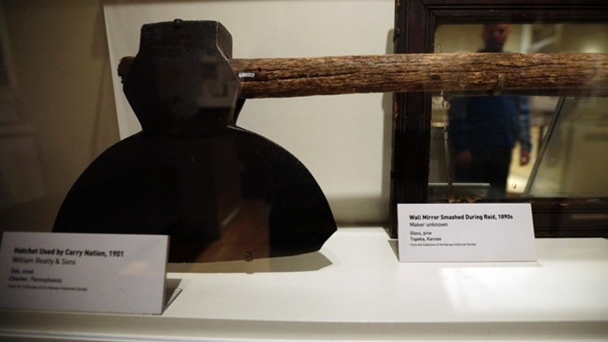 Nov. 8, 2012: A hatchet used by temperance movement figure Carry Nation is shown at an exhibit on Prohibition at the National Constitution Center in Philadelphia.