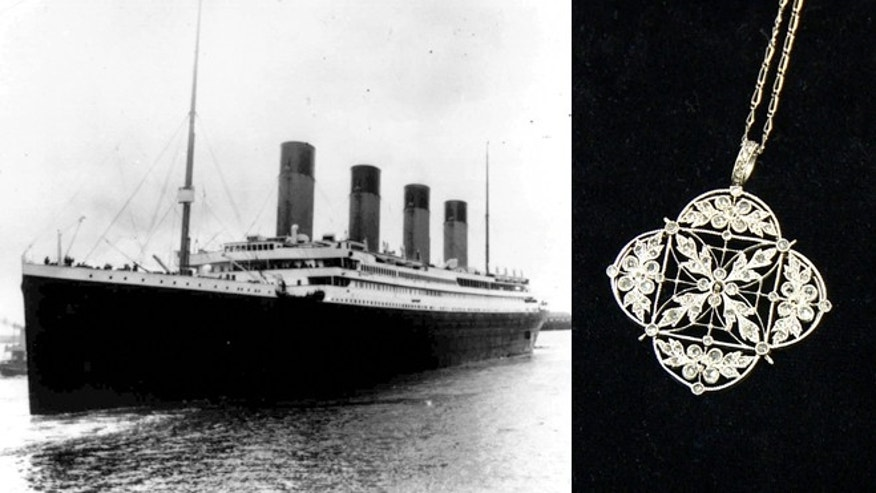 The Titanic on her maiden voyage and a platinum and diamond necklace recovered from the ship.