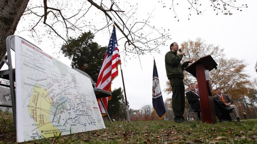 Nov. 19, 2012: Bobby Krick, historian for the Richmond National Battlefiled, speaks during a news conference announcing the purchase of 285 acres of land at the Gaines Mill Civil War battlefield site in Mechanicsville, Va.