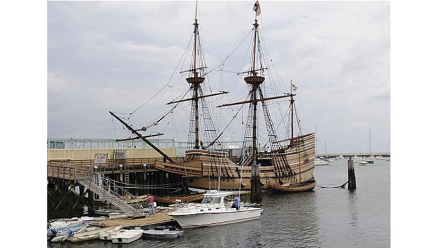 A replica of the Mayflower.