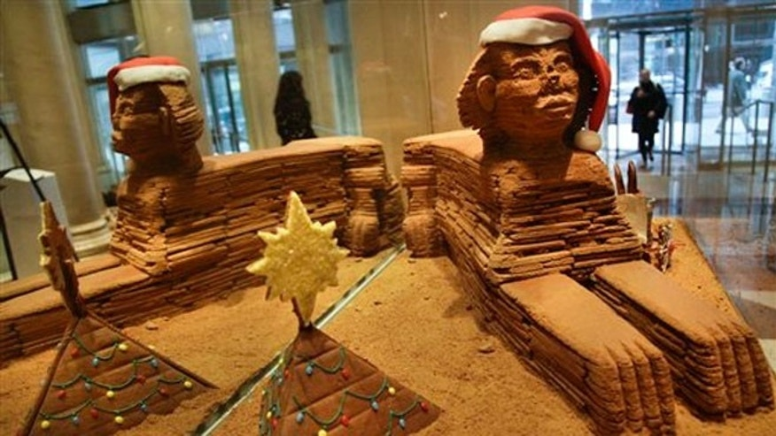 "Nov. 30, 2012: ""The Sphinx,"" a gingerbread creation from North End Grill, on display in the lobby area of Le Parker Meridien hotel in New York."