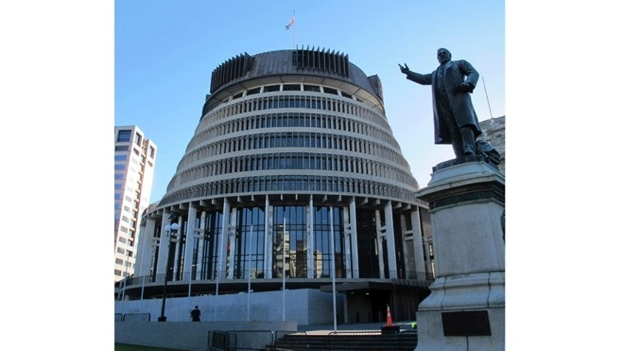 Oct. 22, 2012: The unusual design of the New Zealand Parliament's executive wing, known as the Beehive, graces the skyline in Wellington, New Zealand.