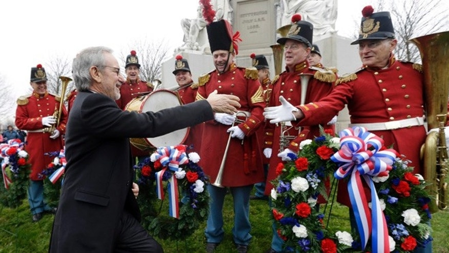"Nov. 19, 2012: Director Steven Spielberg, left, greeting members of ""The President's Own Band"" a musical group of Civil War re-enactors."