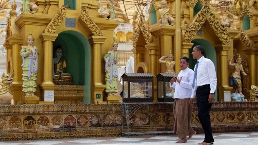 Nov. 19, 2012: U.S. President Barack Obama touring the Shwedagon Pagoda in Yangon, Myanmar.