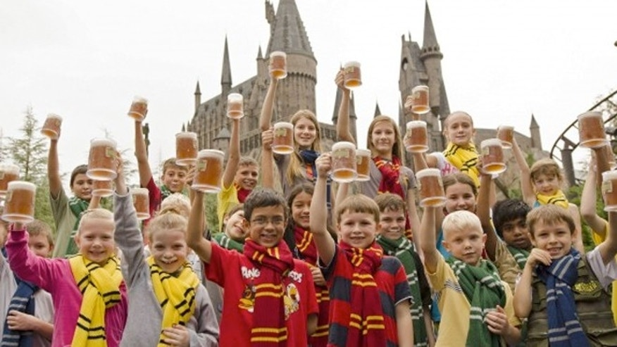 Some of the 1,000 guests at Islands of Adventure who celebrated the 5 millionth serving of Butterbeer with a complimentary mug of the drink.