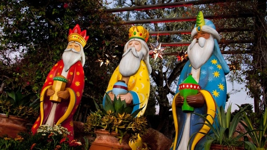 This January 2012 publicity photo provided by Disneyland shows figures representing the Three Kings at a Three Kings Day celebration at the theme park in Anaheim, Calif.