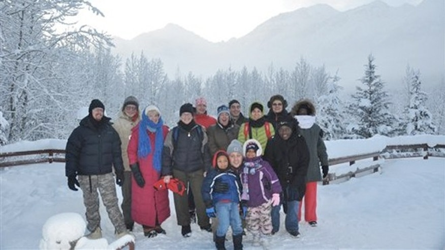 Jan. 1, 2012:  Alaska State Parks shows hikers at Eagle River Nature Center on a First Day Hike in Alaska.