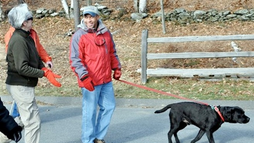 Jan. 1, 2012:  Gov. Patrick Deval and his dog Tobey, participating in a First Day hike at Mount Greylock State Reservation in Lanesborough, Mass.