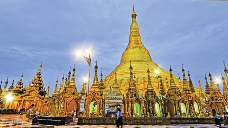 The 2,500 year-old Shwedagon Pagoda, shown here, is the most sacred site in Burma.