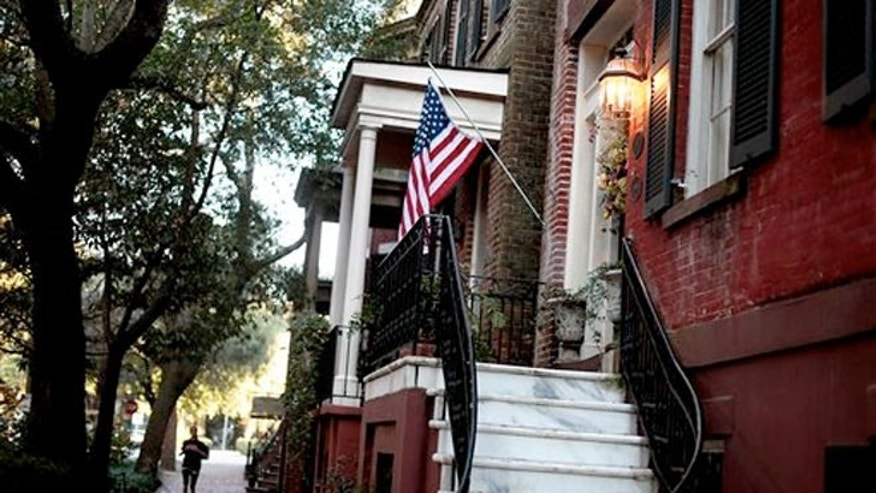 Feb. 21, 2011: A U.S. flag decorates the front door of a home in the historic district of Savannah, Ga.