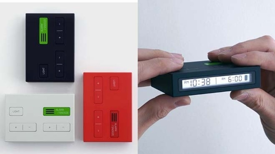 The Jetlag Travel Alarm Clock has two displays: the left side to set the time, and the right to set the alarm.