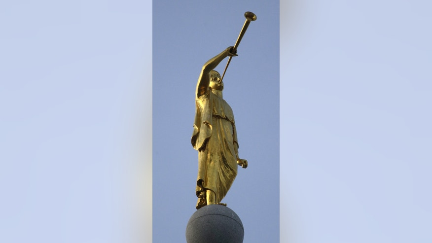 Jan. 9, 2013: Angel Moroni sits a top the Salt Lake Temple in Salt Lake City.