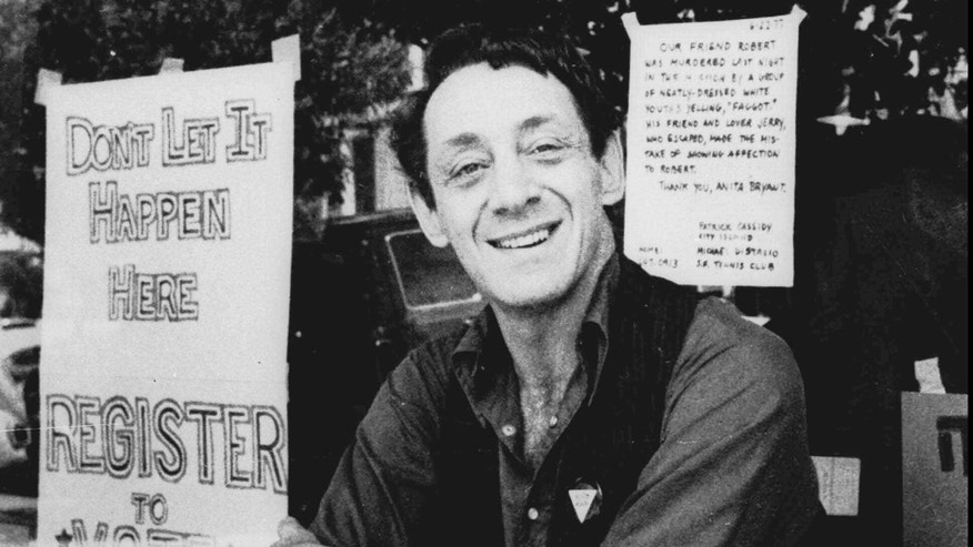 FILE: Harvey Milk poses in front of his camera shop in San Francisco.
