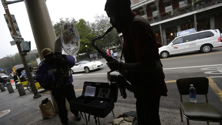 Jan. 15, 2013: Street musicians performing across the street from Jackson Square in New Orleans.