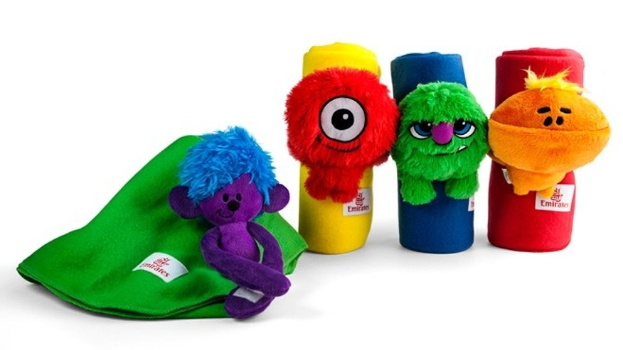 Emirates' 'Fly With Me' monsters blanket buddies