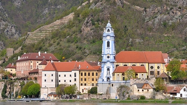 famous blue tower in collegiate church of Durnstein