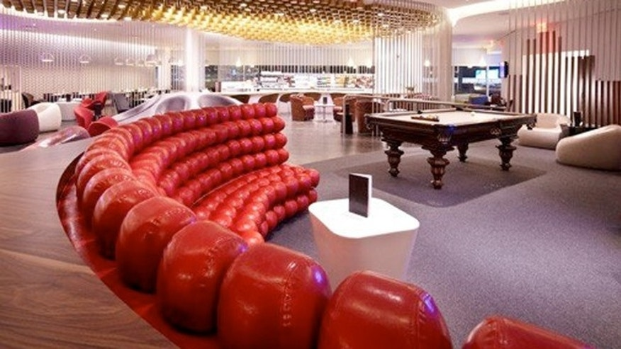 Virgin Atlantic's Clubhouse at JFK in New York oozes with the sleek style Virgin is known for.